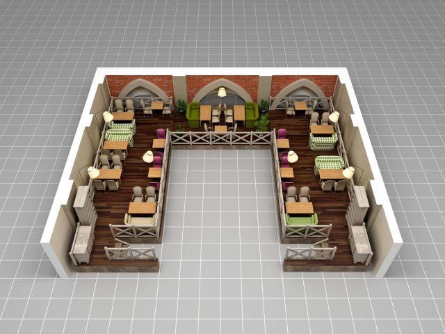 Отрисовка зала ресторана «Базар» для системы бронирования