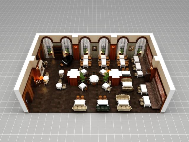 Отрисовка зала ресторана «Царь» для системы бронирования