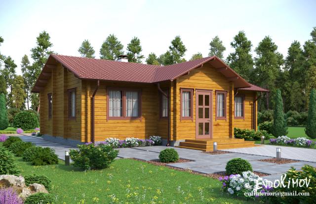 Визуализация деревянного котеджа