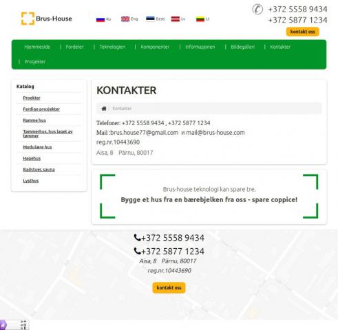 Локализация сайта (контакты) строительной компании на норвежский
