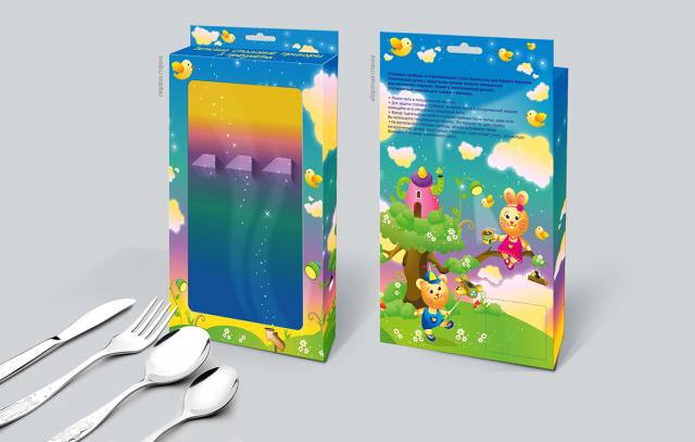 Упаковка для детских столовых приборов. Тип упаковки - коробка