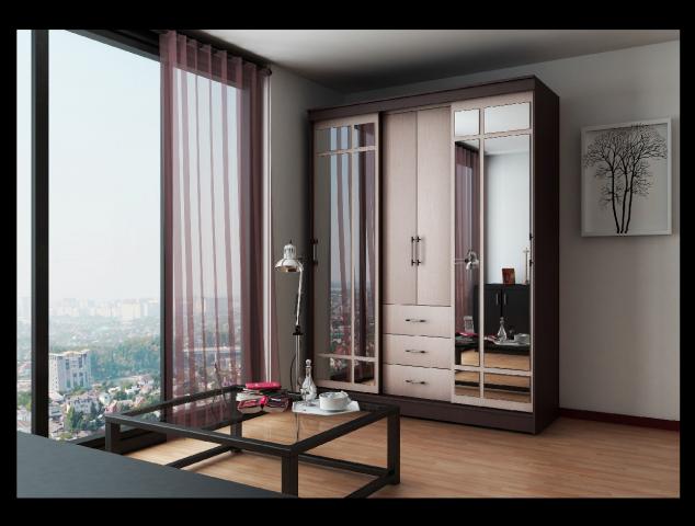 Визуализация предмета мебели в интерьере.