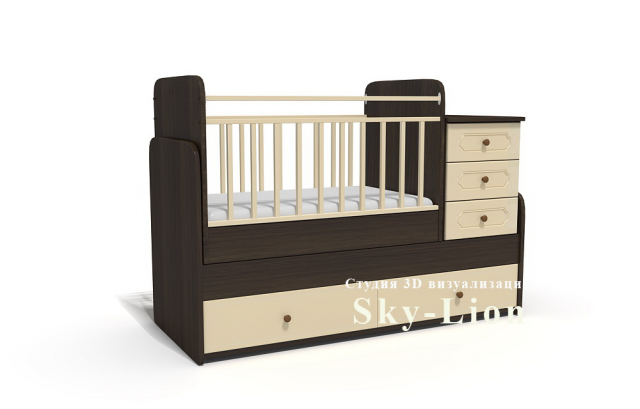 3d моделирование и визуализация детской кровати