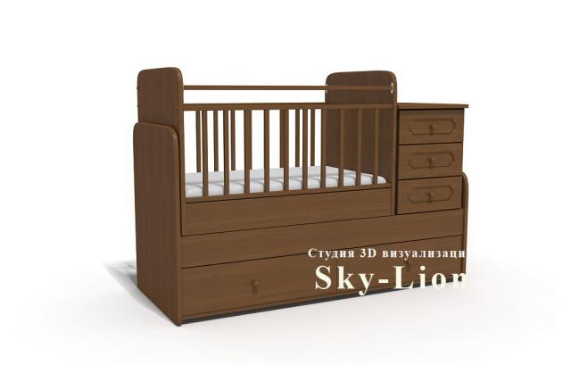 3d моделирование и визуализация детской кроватки
