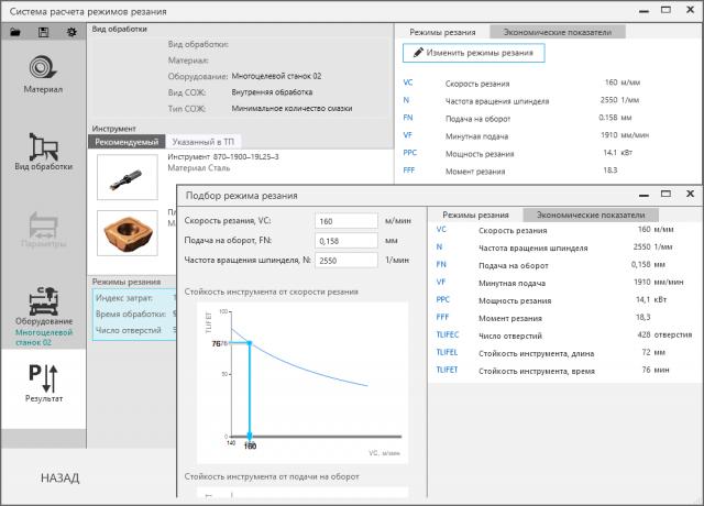 WPF MVVM проект - Режимы резания