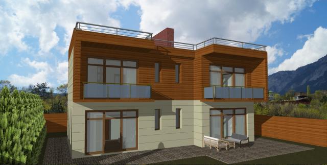 Двухэтажный жилой дом с плоской кровлей