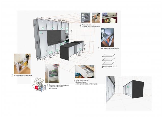 Дизайн-проект кухни с учетом наполнения