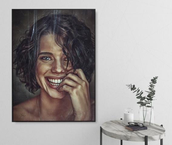 Счастливая (гранжевая отрисовка портрета)
