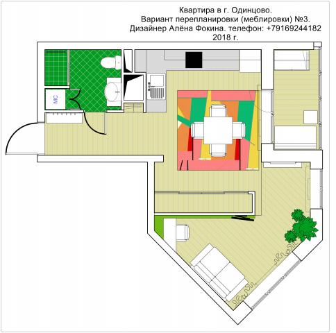 Квартира студия 37 кв.м. 3 вариант