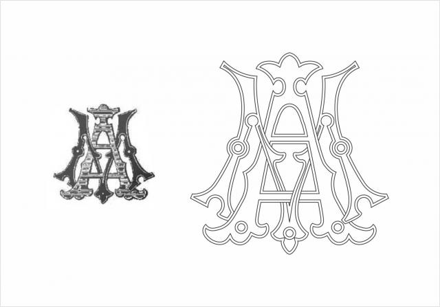 Ручная отрисовка старинной монограммы в векторе