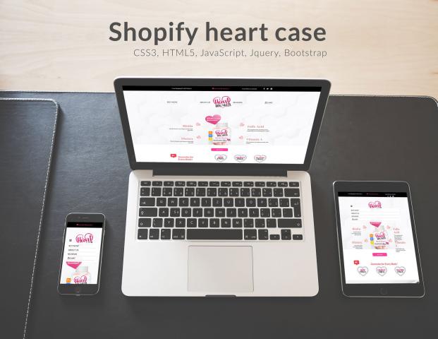 Адаптивная верстка Heart CSS3 + HTML5 + интеграция Shopify