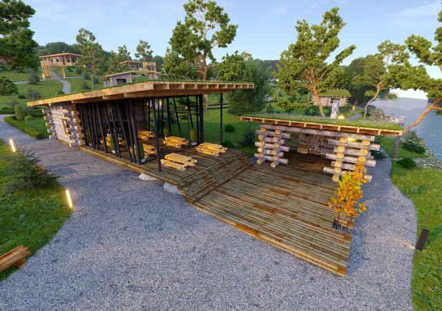 Проект и визуализация базы отдыха  на берегу реки