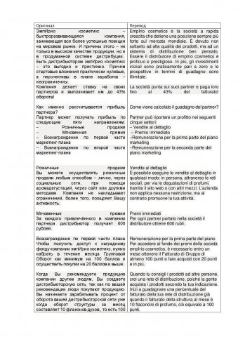 Перевод рекламного текста с русского на итальянский