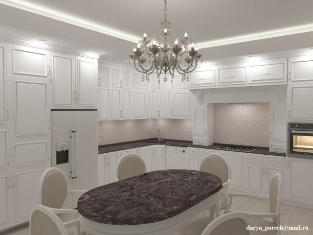 Визуализация интерьера кухни в классическом стиле