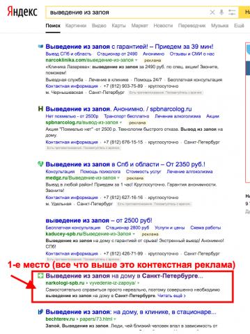 ТОП- 10 Яндекса. Наркологическая клиника (Санкт-Петербург)