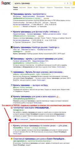 Продвижение в ТОП10 Яндекса. Интернет-магазин спортивных товаров