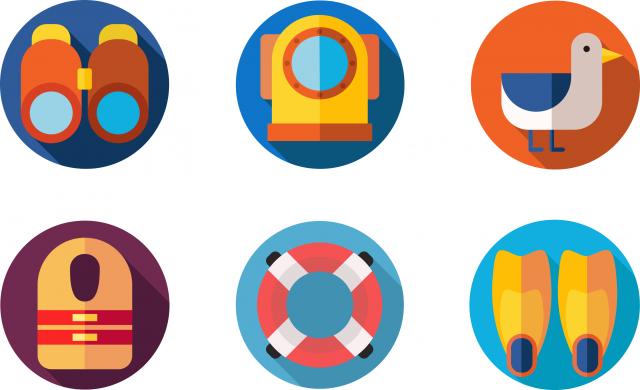 """Flat icons """"Морское путешествие"""""""