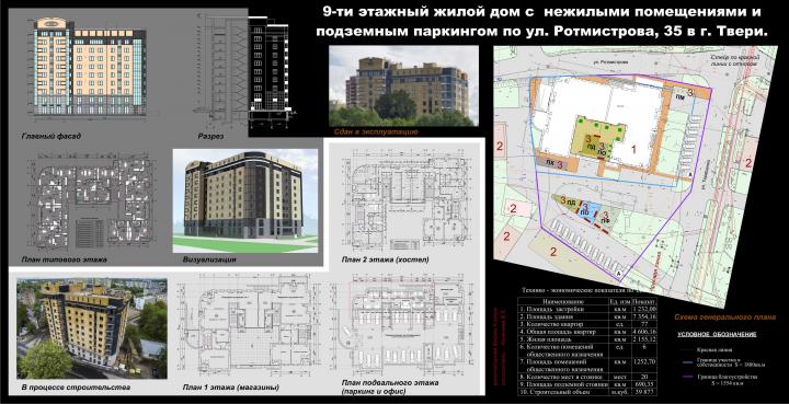 9-ти этажный жилой дом с нежилыми помещениями и паркингом
