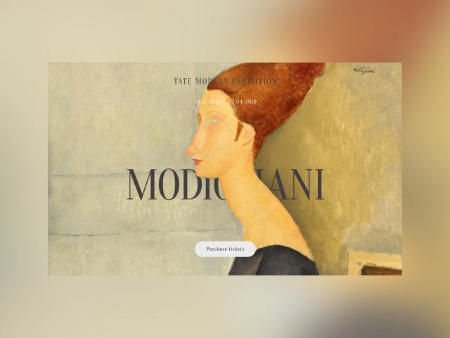 Дизайн сайта, посвященного  выставке художника Амедео  Модильяни
