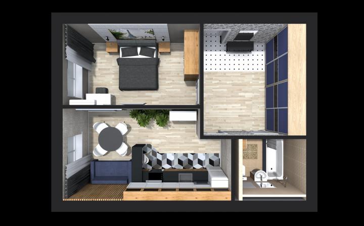 Расстановка мебели в 3D (однушка)
