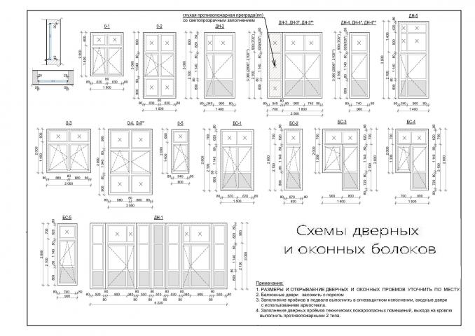 Схемы дверных и оконных блоков
