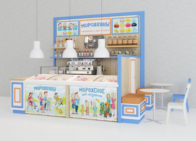 Дизайн точки по продаже мороженого и кофе с собой