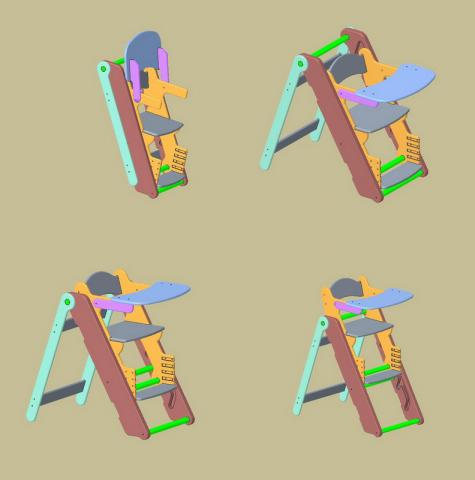 Детское складное разновысокое кресло