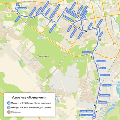 Отрисовка карты маршрута автобуса