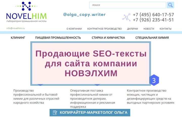 Продающие SEO-тексты для сайта компании  НОВЭЛХИМ.