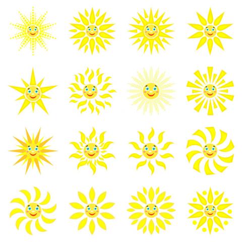 """Набор из 16 иконок """"Солнышко""""."""
