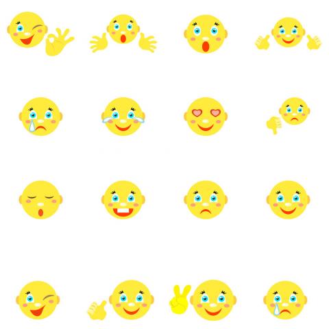 3 набора из 16 смайликов, выполненных в виде персонажа