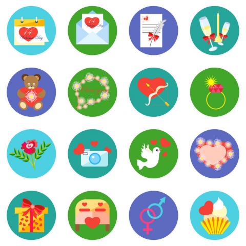 """Набор из 16 иконок """"День Святого Валентина"""". Векторное изображен"""