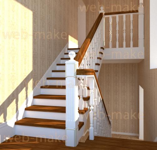Визуализация лестницы в интерьере. Моделирование балясин, перилл