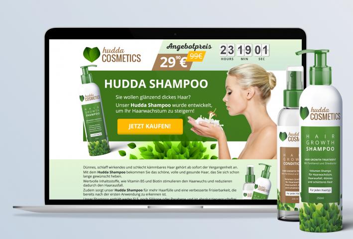 Landing page, этикетка и логотип для Hudda Cosmetics
