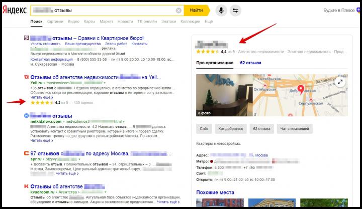 Яндекс. Поисковая выдача. Работа с отзывами (г.Москва)