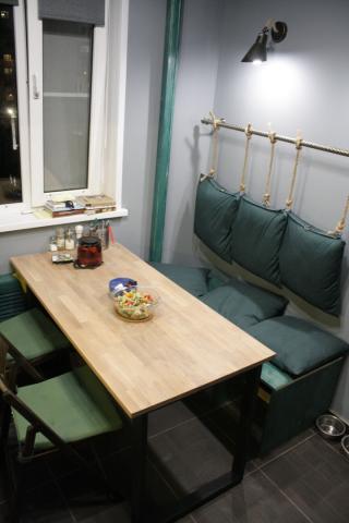 Реализованный интерьер кухни-столовой