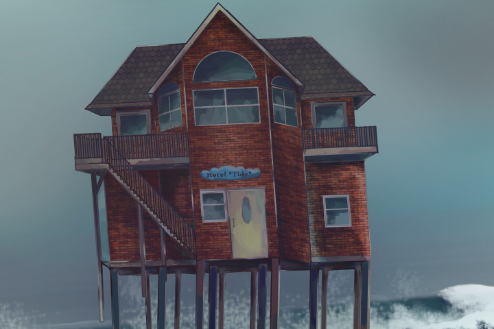 """""""Дом на сваях"""". Photoshop, рисунок на планшете без фильтров"""