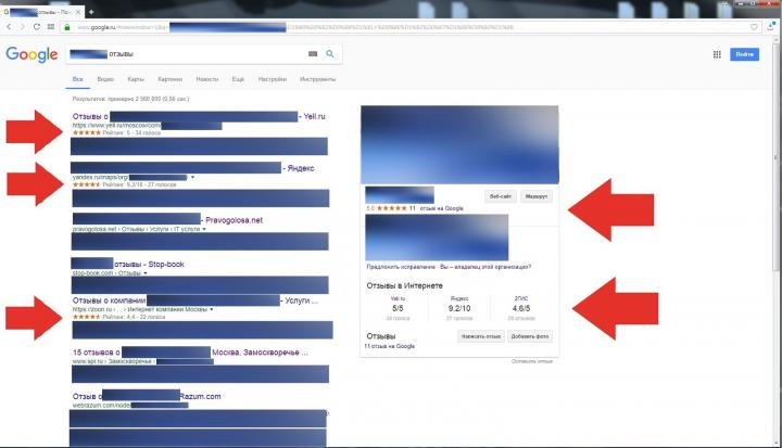 Выдача гугла о компании, после работы с отзывами (г.Москва)