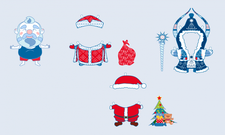Дед Мороз кукла для вырезания