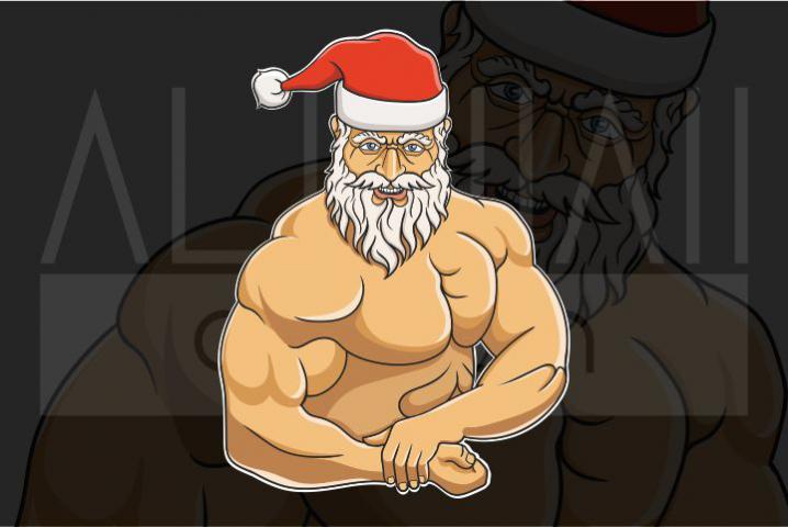 Bodybuilder Santa