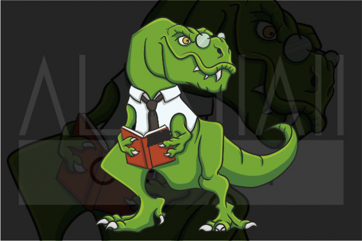 Funny T-rex with Book