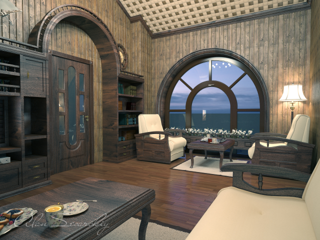 Визуализация интерьера домика для отдыха