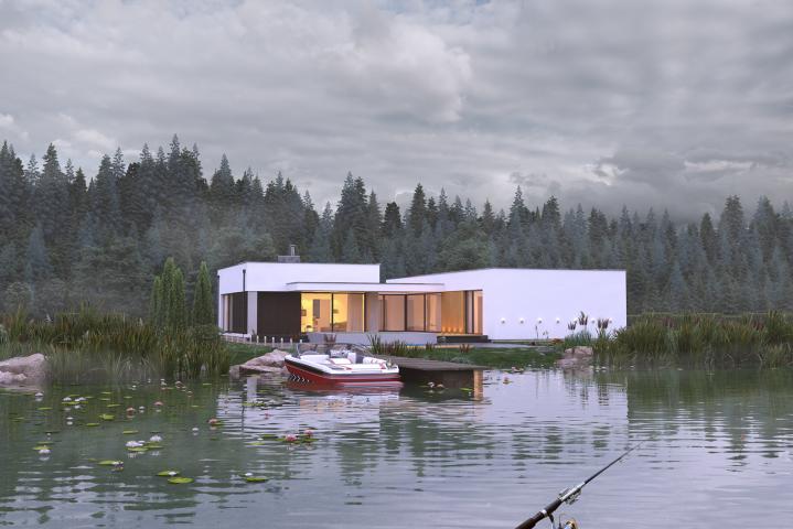 Villa on the lake (cloudy)