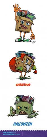 Персонаж - коробка комиксов