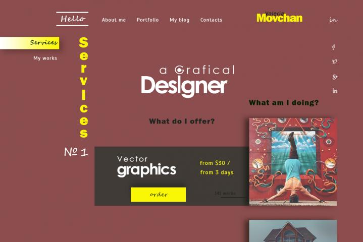 Концепт дизайна сайта портфолио
