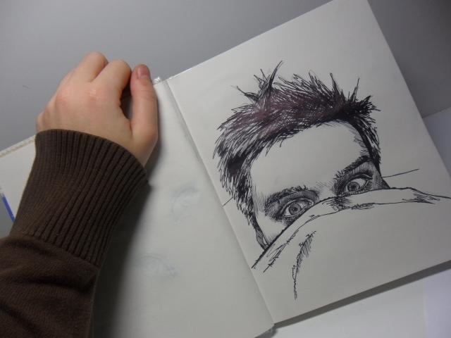 Портрет шариковой ручкой(скейч)