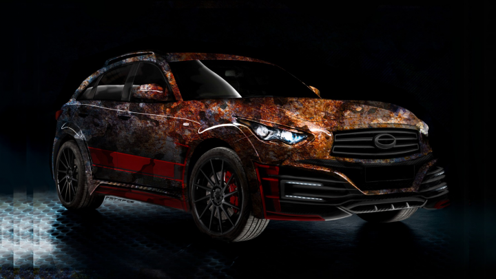 Infiniti QX70 Artrace body kit & vinyl design