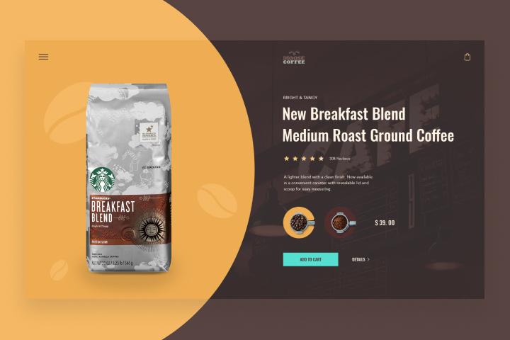 Карточка товара сайта по продаже кофе