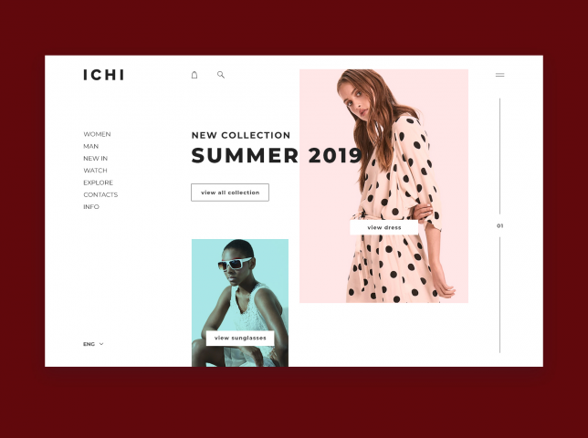 "Site design for clothing brand ""ICHI"""