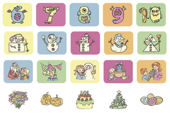 серия рисунков для детской игры